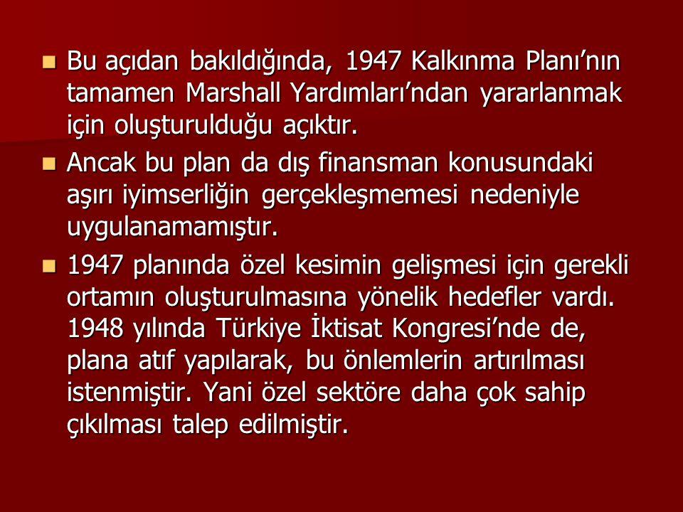 Bu açıdan bakıldığında, 1947 Kalkınma Planı'nın tamamen Marshall Yardımları'ndan yararlanmak için oluşturulduğu açıktır.
