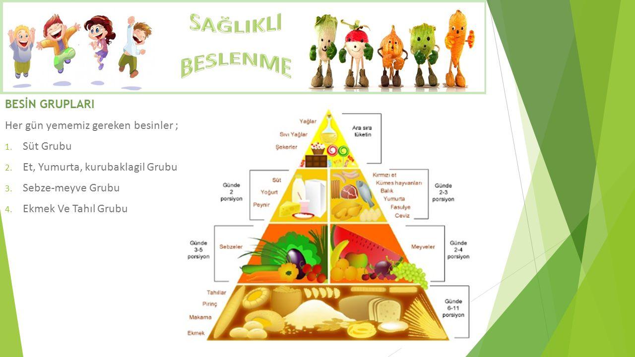 BESİN GRUPLARI Her gün yememiz gereken besinler ; Süt Grubu. Et, Yumurta, kurubaklagil Grubu. Sebze-meyve Grubu.