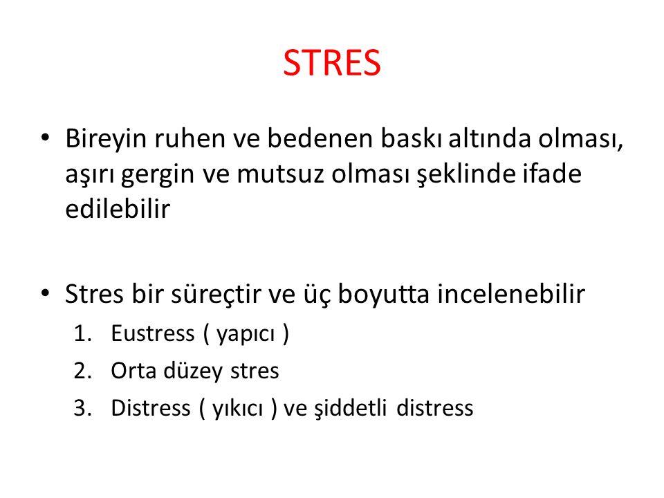 STRES Bireyin ruhen ve bedenen baskı altında olması, aşırı gergin ve mutsuz olması şeklinde ifade edilebilir.