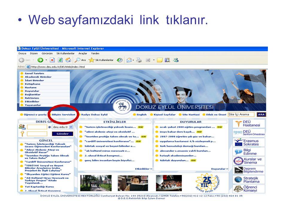 Web sayfamızdaki link tıklanır.