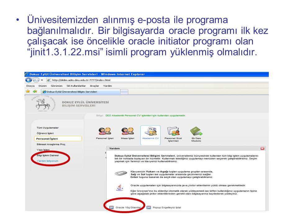Ünivesitemizden alınmış e-posta ile programa bağlanılmalıdır