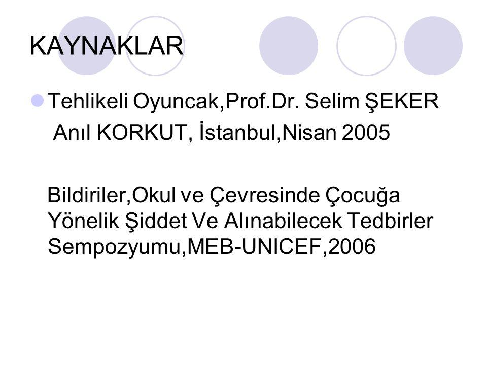 KAYNAKLAR Tehlikeli Oyuncak,Prof.Dr. Selim ŞEKER