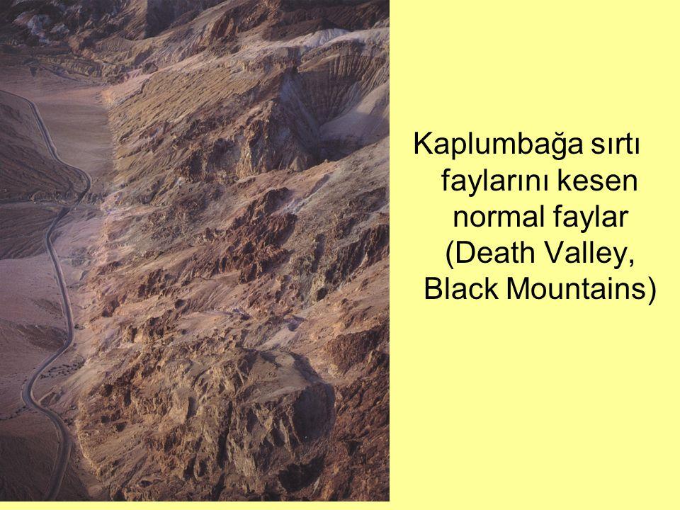 Kaplumbağa sırtı faylarını kesen normal faylar (Death Valley, Black Mountains)