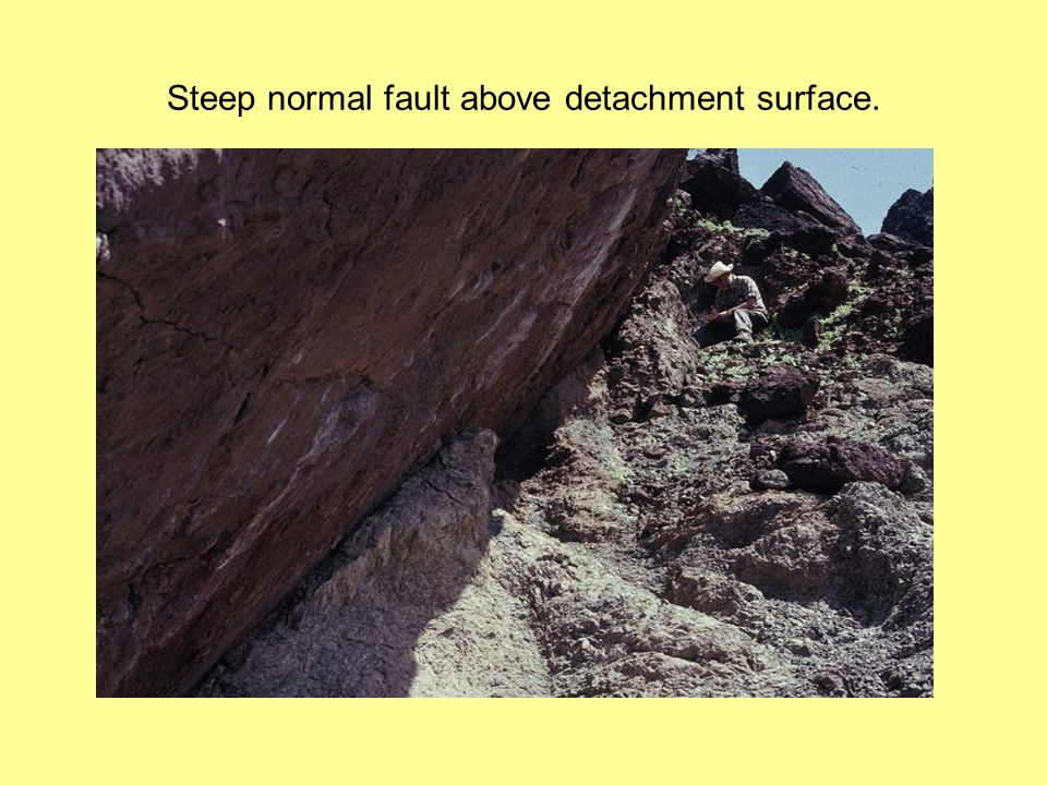 Steep normal fault above detachment surface.