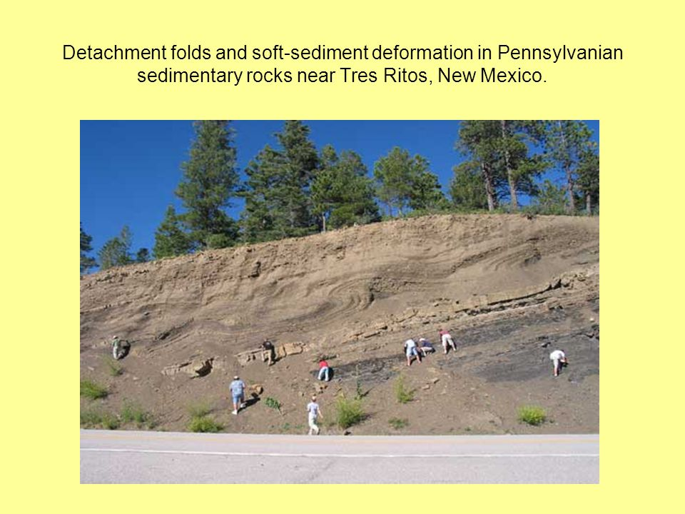 Detachment folds and soft-sediment deformation in Pennsylvanian sedimentary rocks near Tres Ritos, New Mexico.