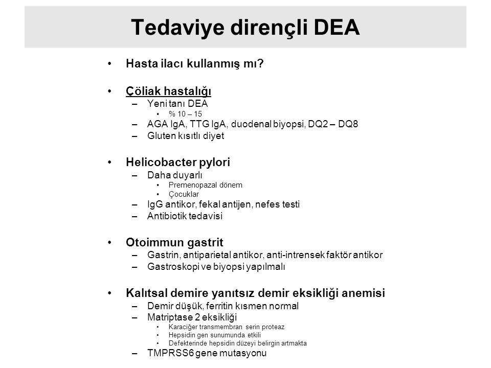 Tedaviye dirençli DEA Hasta ilacı kullanmış mı Çöliak hastalığı