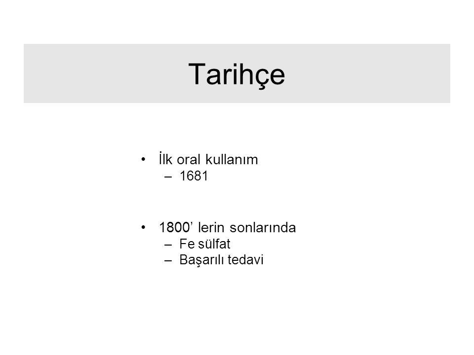 Tarihçe İlk oral kullanım 1800' lerin sonlarında 1681 Fe sülfat