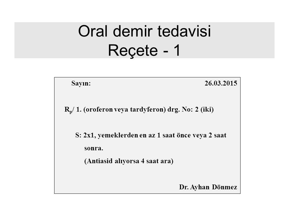 Oral demir tedavisi Reçete - 1