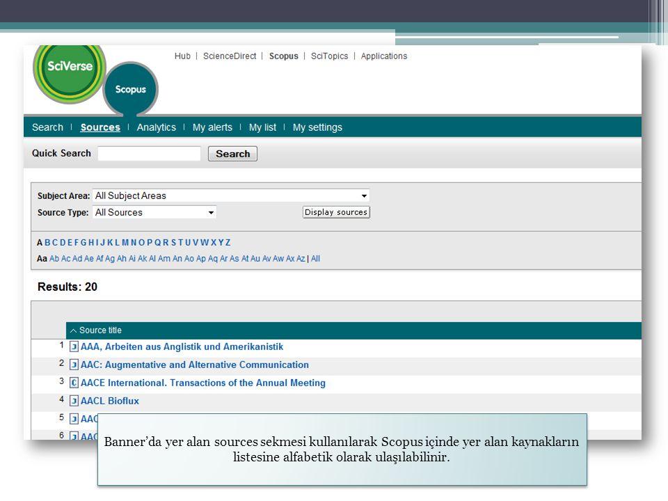 Banner'da yer alan sources sekmesi kullanılarak Scopus içinde yer alan kaynakların listesine alfabetik olarak ulaşılabilinir.