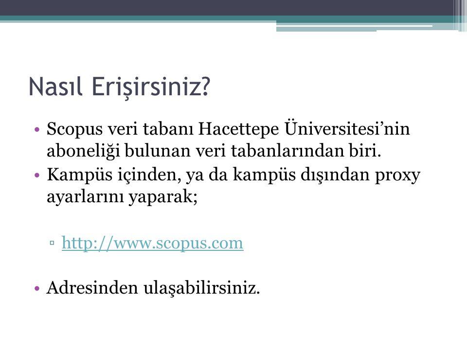 Nasıl Erişirsiniz Scopus veri tabanı Hacettepe Üniversitesi'nin aboneliği bulunan veri tabanlarından biri.