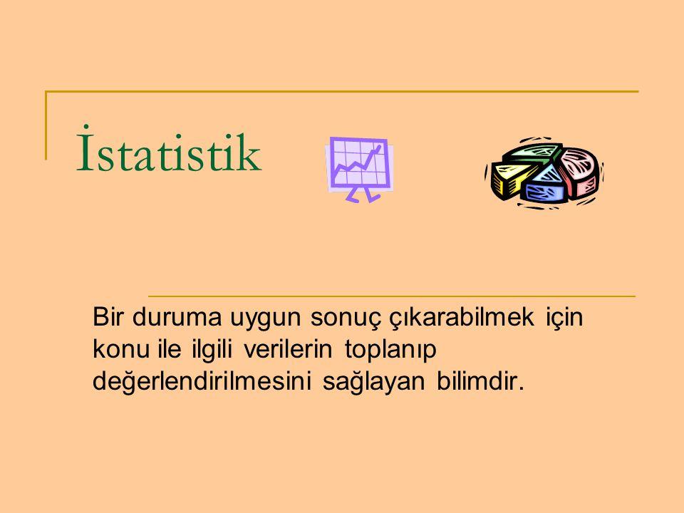 İstatistik Bir duruma uygun sonuç çıkarabilmek için konu ile ilgili verilerin toplanıp değerlendirilmesini sağlayan bilimdir.