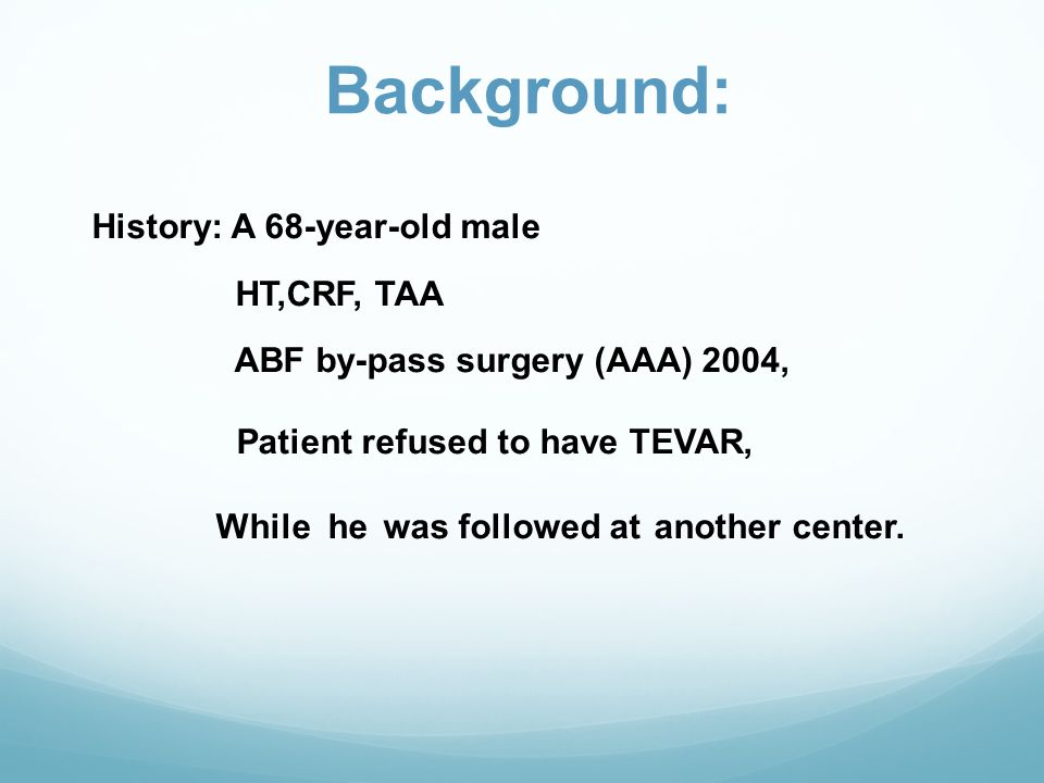 Background: HT,CRF, TAA ABF by-pass surgery (AAA) 2004,