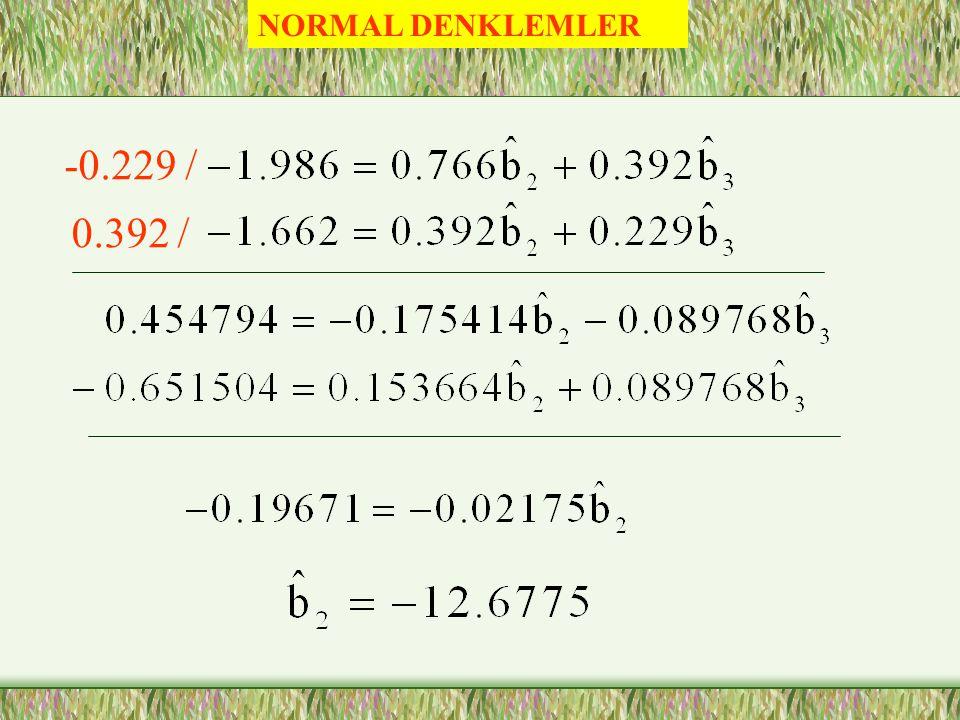 NORMAL DENKLEMLER -0.229 / 0.392 /