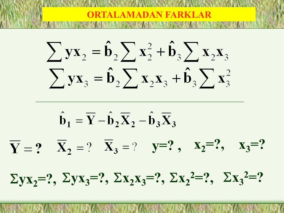y= , x2= , x3= Syx2= , Syx3= , Sx2x3= , Sx22= , Sx32=