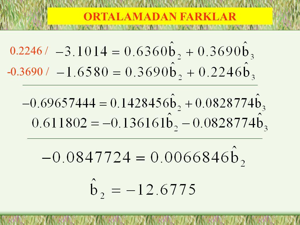 ORTALAMADAN FARKLAR 0.2246 / -0.3690 /