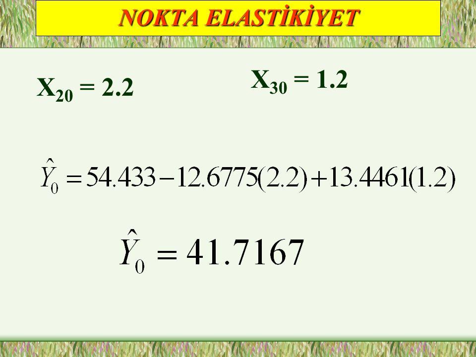 NOKTA ELASTİKİYET X30 = 1.2 X20 = 2.2