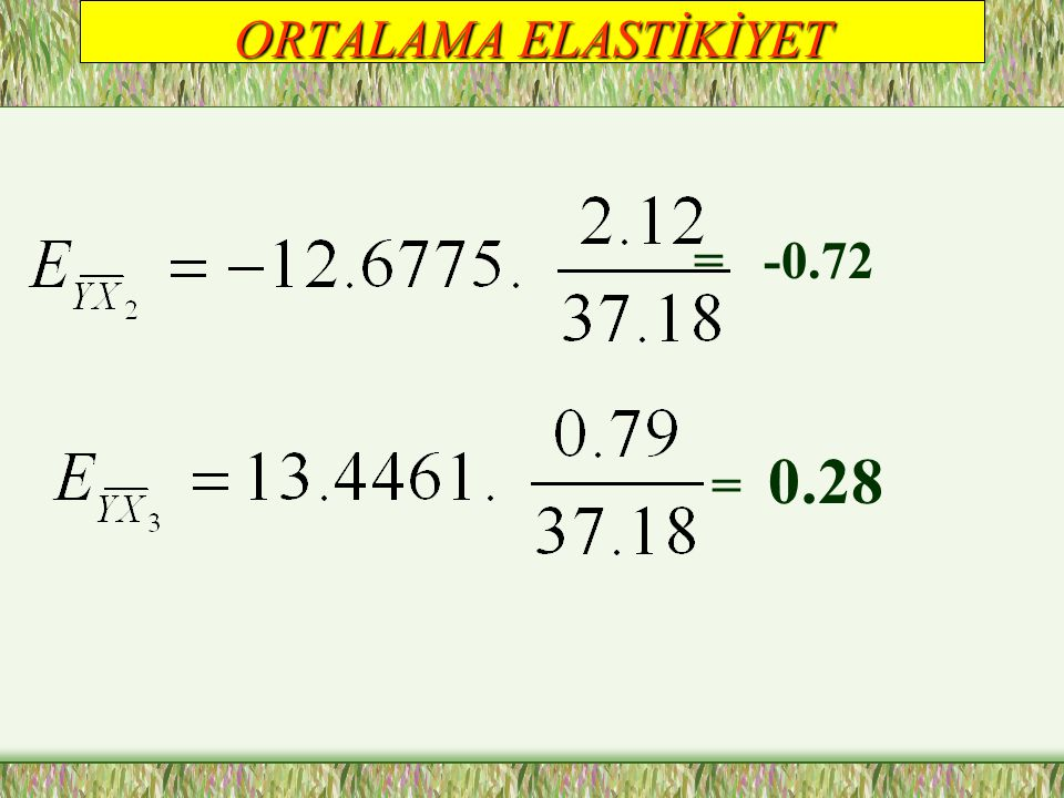 ORTALAMA ELASTİKİYET = -0.72 = 0.28
