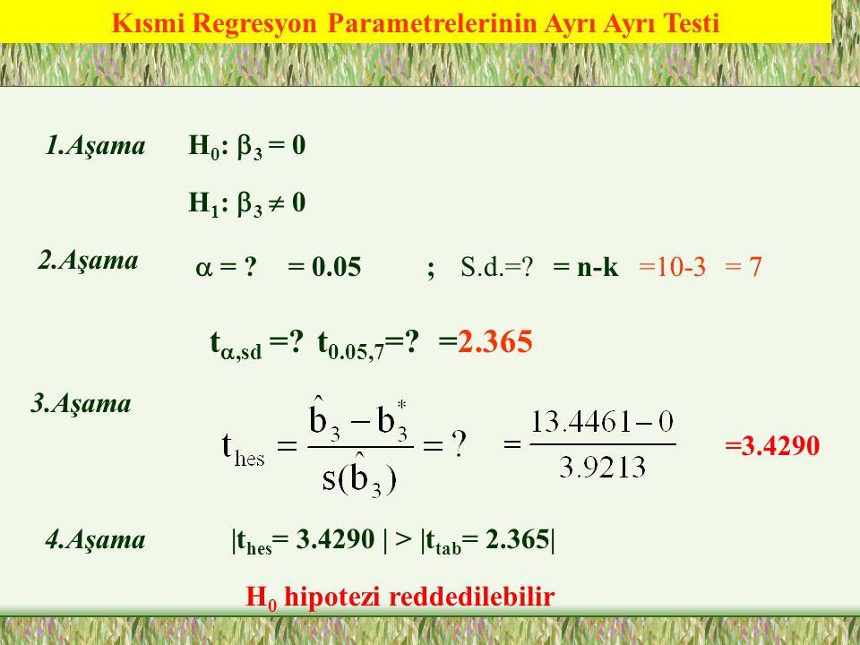 Kısmi Regresyon Parametrelerinin Ayrı Ayrı Testi