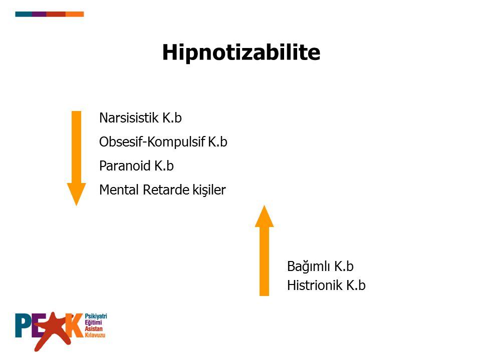 Hipnotizabilite Narsisistik K.b Obsesif-Kompulsif K.b Paranoid K.b