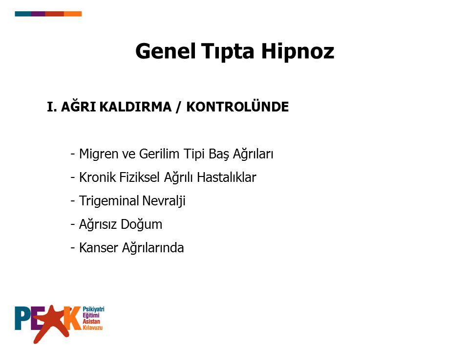 Genel Tıpta Hipnoz I. AĞRI KALDIRMA / KONTROLÜNDE