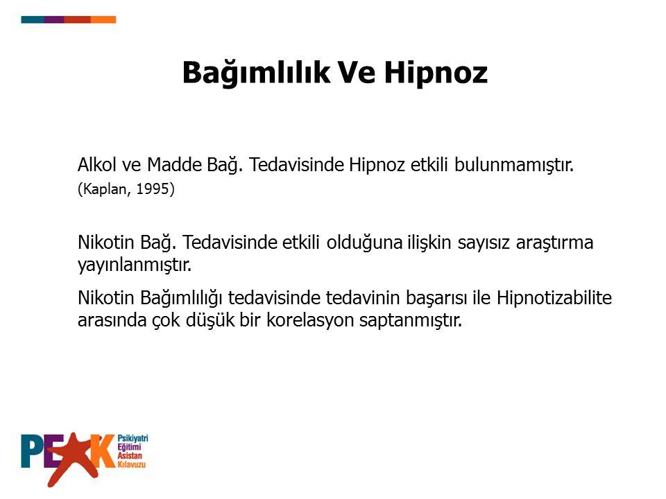 Bağımlılık Ve Hipnoz Alkol ve Madde Bağ. Tedavisinde Hipnoz etkili bulunmamıştır. (Kaplan, 1995)