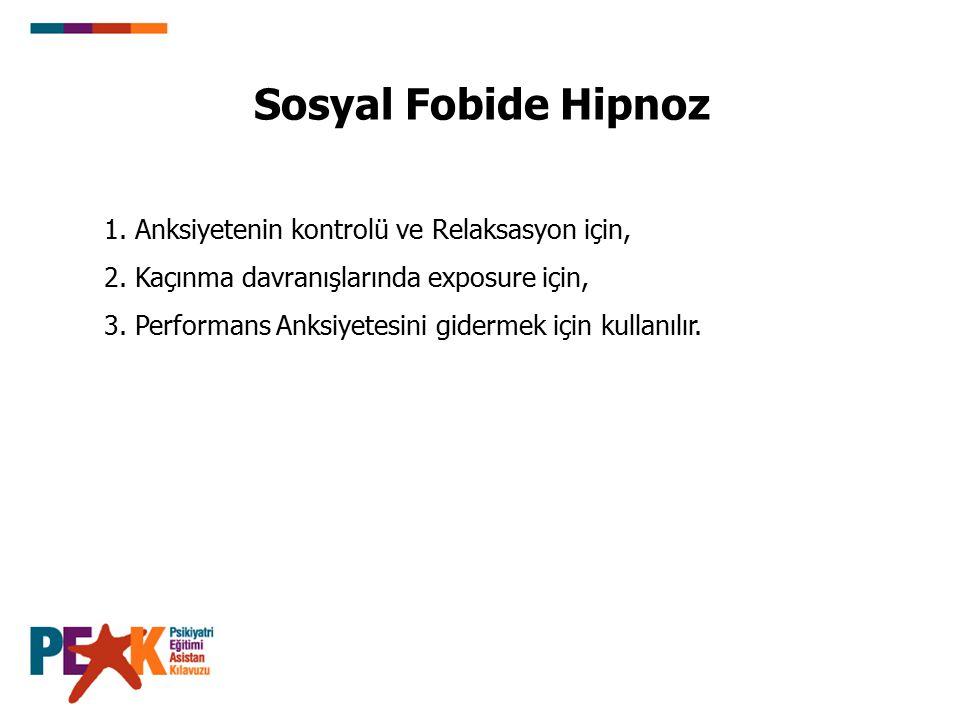 Sosyal Fobide Hipnoz 1. Anksiyetenin kontrolü ve Relaksasyon için,