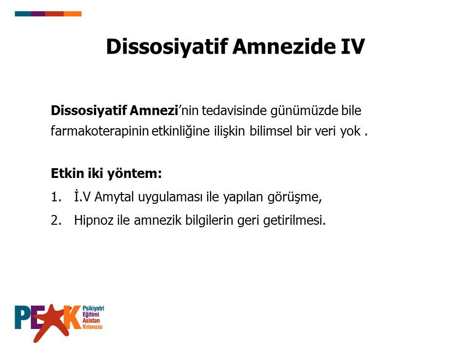 Dissosiyatif Amnezide IV
