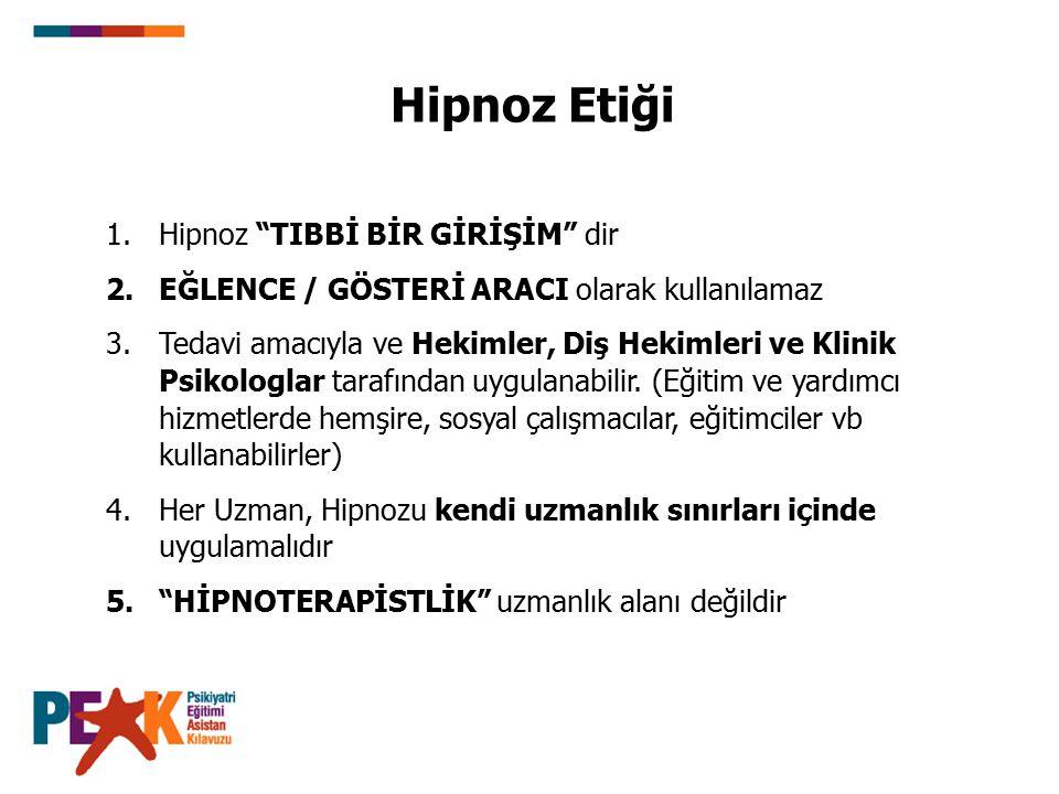 Hipnoz Etiği Hipnoz TIBBİ BİR GİRİŞİM dir