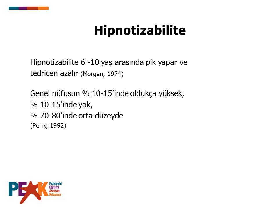 Hipnotizabilite Hipnotizabilite 6 -10 yaş arasında pik yapar ve