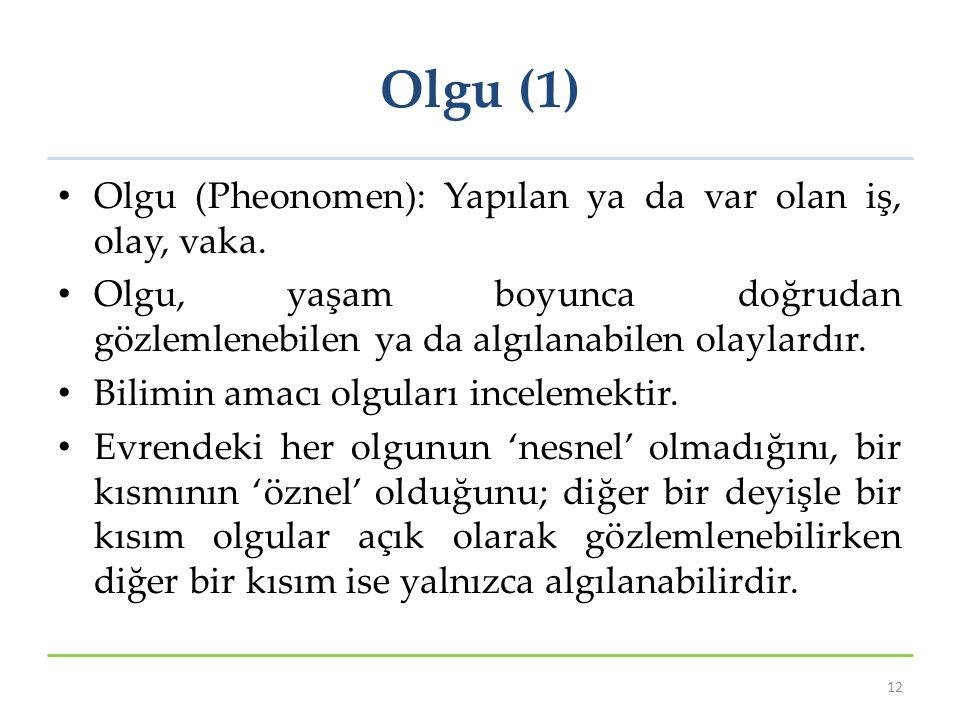 Olgu (1) Olgu (Pheonomen): Yapılan ya da var olan iş, olay, vaka.