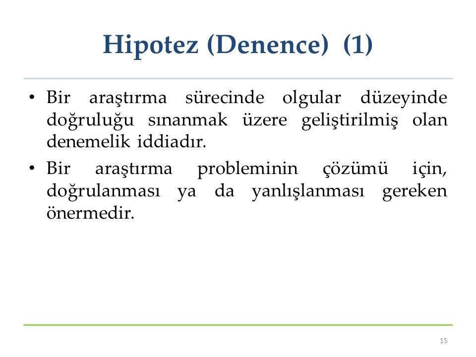 Hipotez (Denence) (1) Bir araştırma sürecinde olgular düzeyinde doğruluğu sınanmak üzere geliştirilmiş olan denemelik iddiadır.