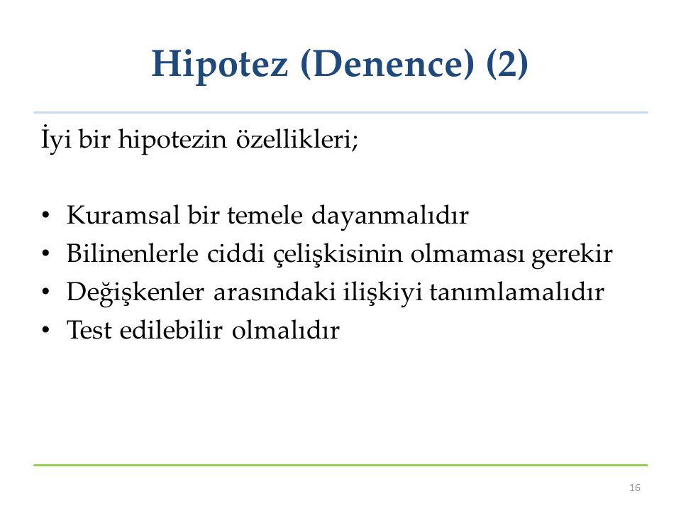 Hipotez (Denence) (2) İyi bir hipotezin özellikleri;