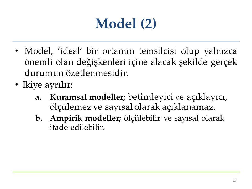 Model (2) Model, 'ideal' bir ortamın temsilcisi olup yalnızca önemli olan değişkenleri içine alacak şekilde gerçek durumun özetlenmesidir.