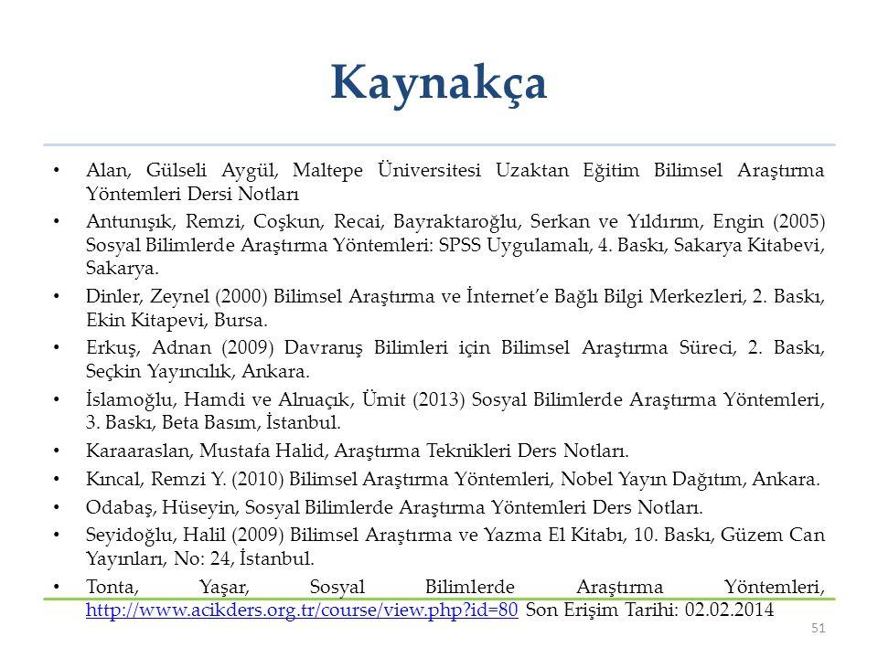 Kaynakça Alan, Gülseli Aygül, Maltepe Üniversitesi Uzaktan Eğitim Bilimsel Araştırma Yöntemleri Dersi Notları.