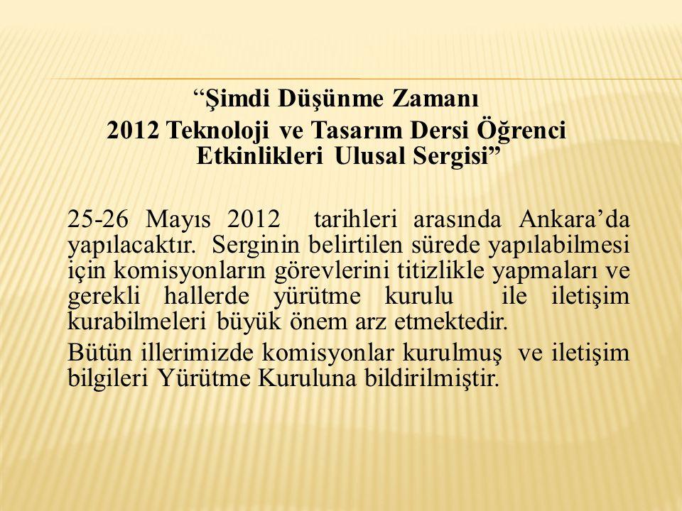 Şimdi Düşünme Zamanı 2012 Teknoloji ve Tasarım Dersi Öğrenci Etkinlikleri Ulusal Sergisi 25-26 Mayıs 2012 tarihleri arasında Ankara'da yapılacaktır.