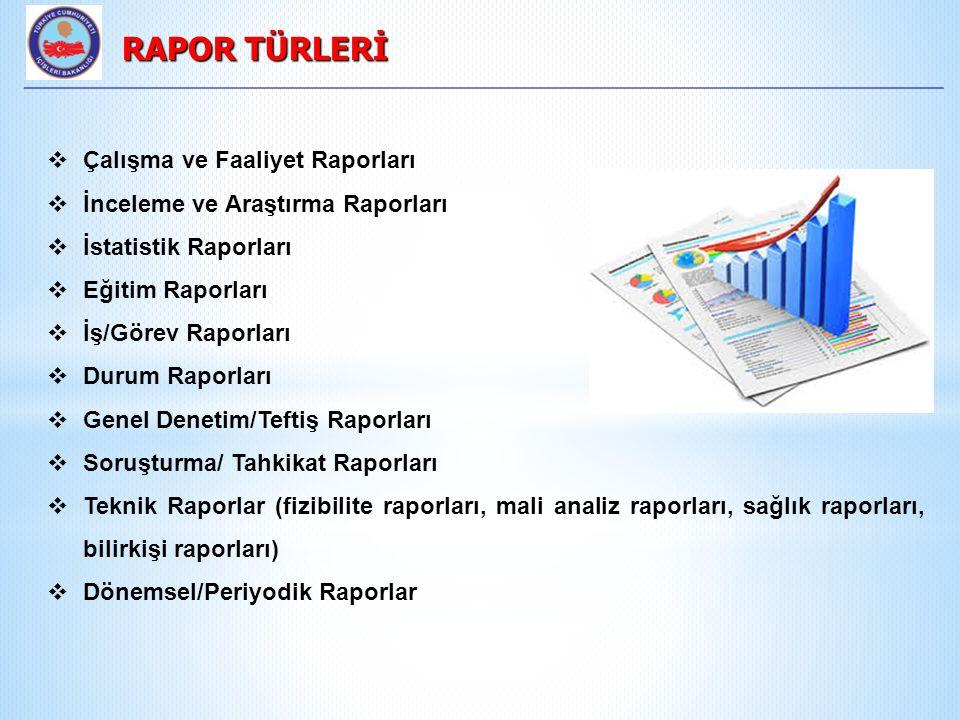 RAPOR TÜRLERİ Çalışma ve Faaliyet Raporları