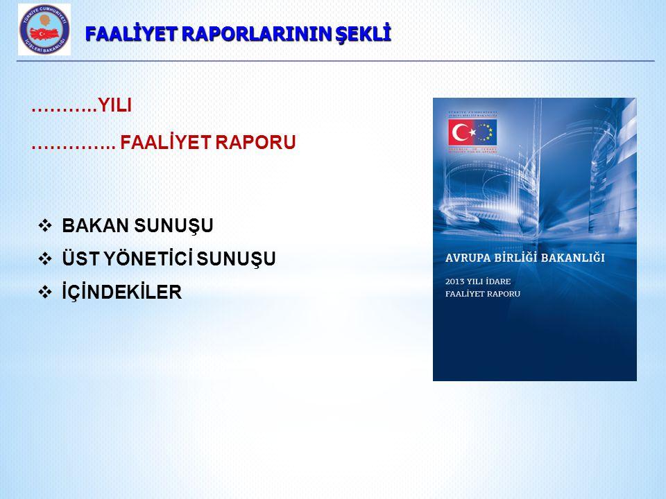 FAALİYET RAPORLARININ ŞEKLİ