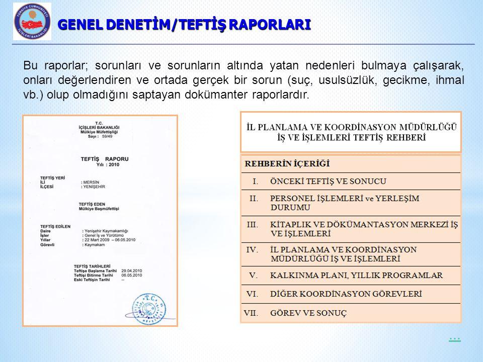 GENEL DENETİM/TEFTİŞ RAPORLARI