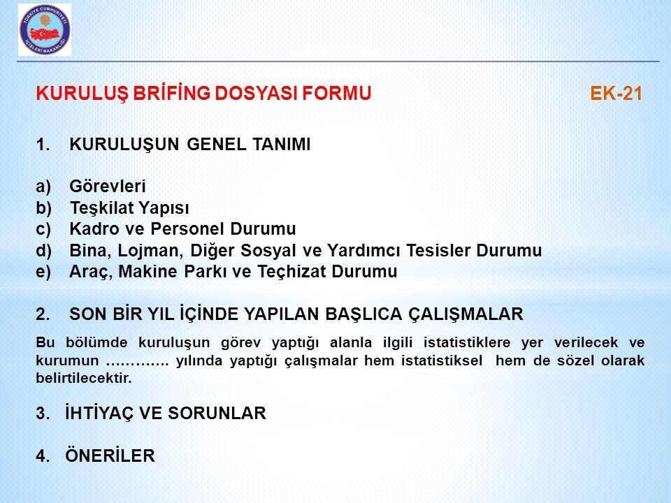 KURULUŞ BRİFİNG DOSYASI FORMU EK-21