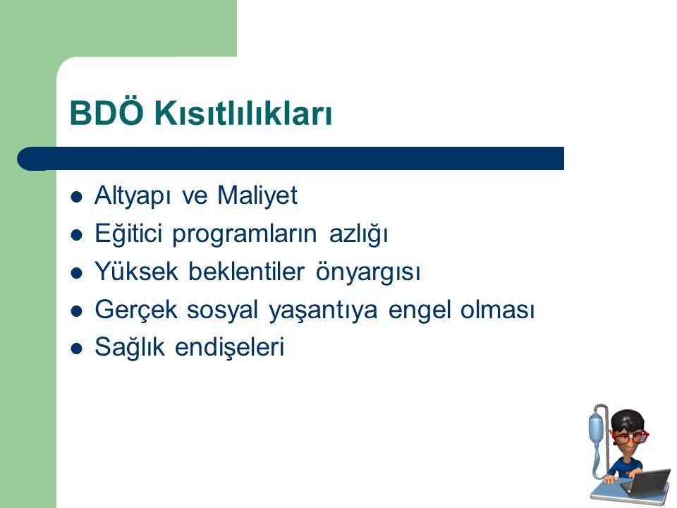 BDÖ Kısıtlılıkları Altyapı ve Maliyet Eğitici programların azlığı