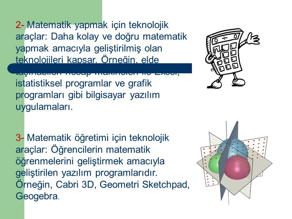 2- Matematik yapmak için teknolojik araçlar: Daha kolay ve doğru matematik yapmak amacıyla geliştirilmiş olan teknolojileri kapsar. Örneğin, elde taşınabilen hesap makineleri ile Excel, istatistiksel programlar ve grafik programları gibi bilgisayar yazılım uygulamaları.