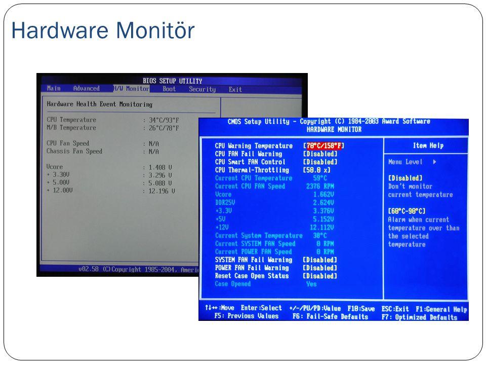 Hardware Monitör CMOS kurulum yazılımında en çok kullanabileceğiniz yerlerden birisi de Hardware Monitör ekranıdır.