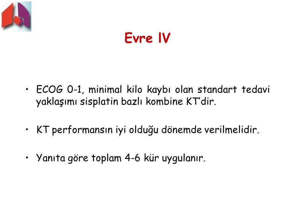 Evre lV ECOG 0-1, minimal kilo kaybı olan standart tedavi yaklaşımı sisplatin bazlı kombine KT'dir.
