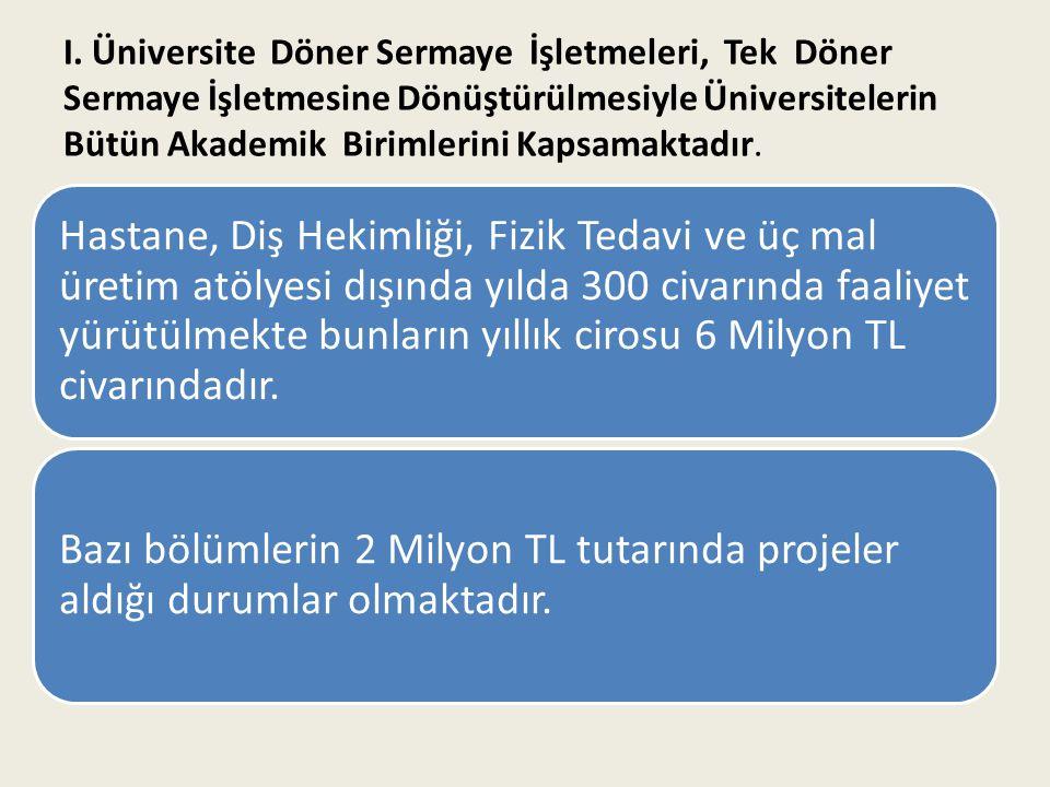I. Üniversite Döner Sermaye İşletmeleri, Tek Döner Sermaye İşletmesine Dönüştürülmesiyle Üniversitelerin Bütün Akademik Birimlerini Kapsamaktadır.