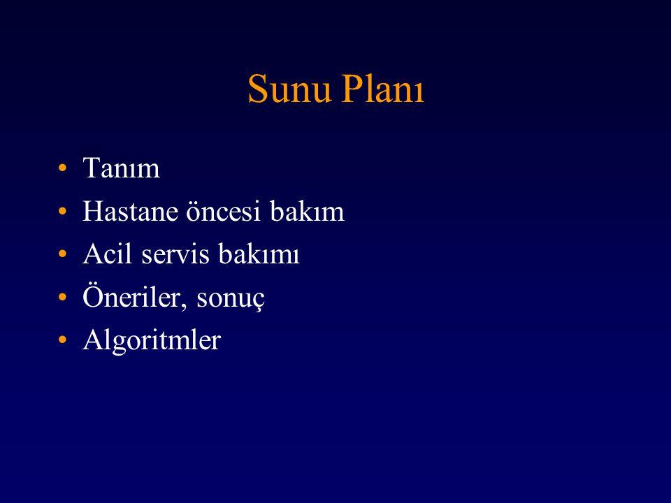 Sunu Planı Tanım Hastane öncesi bakım Acil servis bakımı