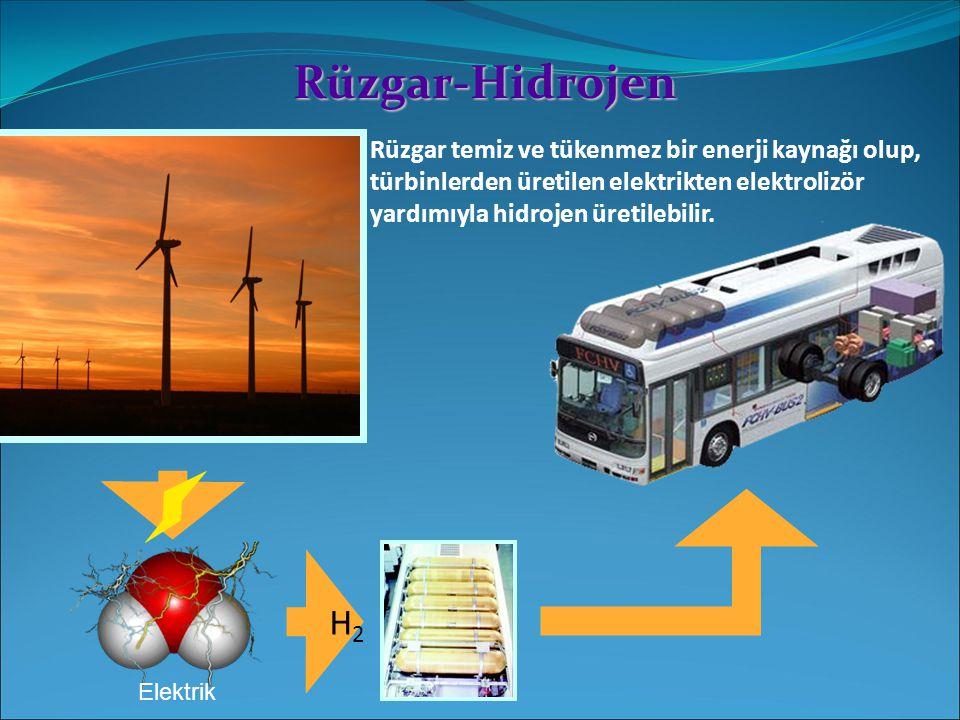 Rüzgar-Hidrojen Rüzgar temiz ve tükenmez bir enerji kaynağı olup, türbinlerden üretilen elektrikten elektrolizör yardımıyla hidrojen üretilebilir.