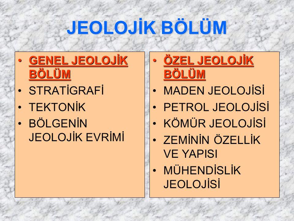 JEOLOJİK BÖLÜM GENEL JEOLOJİK BÖLÜM STRATİGRAFİ TEKTONİK