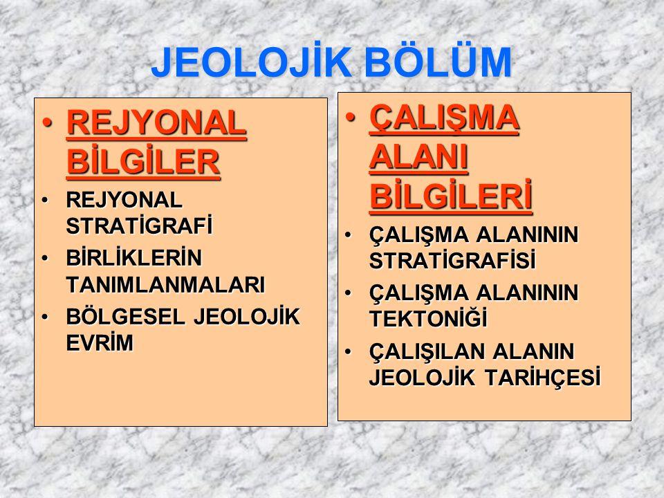 JEOLOJİK BÖLÜM ÇALIŞMA ALANI BİLGİLERİ REJYONAL BİLGİLER