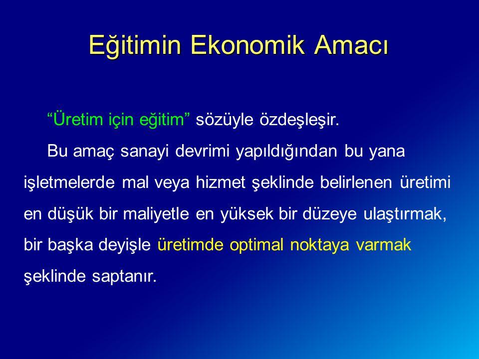 Eğitimin Ekonomik Amacı