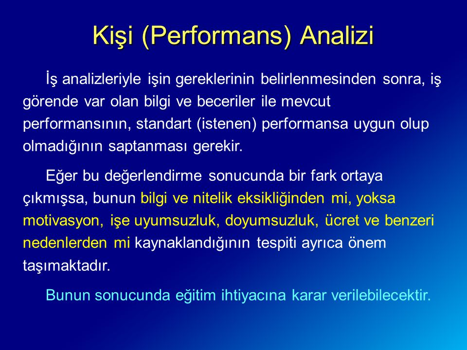 Kişi (Performans) Analizi